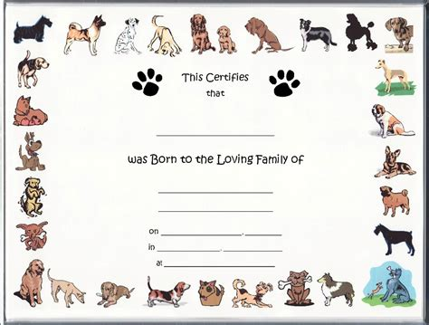 puppy birth certificate template free printable seashell stencils quotes