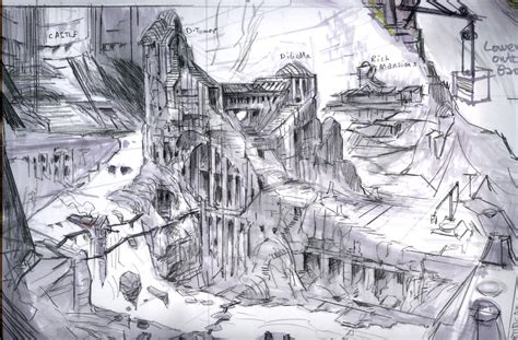layout artist video games markarth layout rough sketch video games artwork
