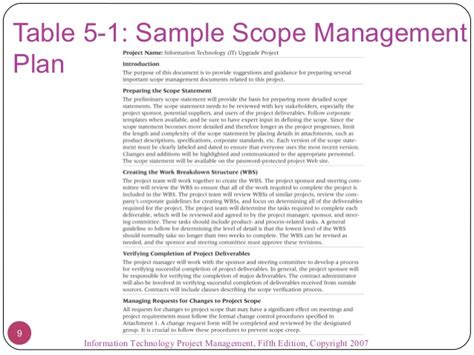 Project Scope Management Plan Exles Project Scope Template Project Plan Scope Template