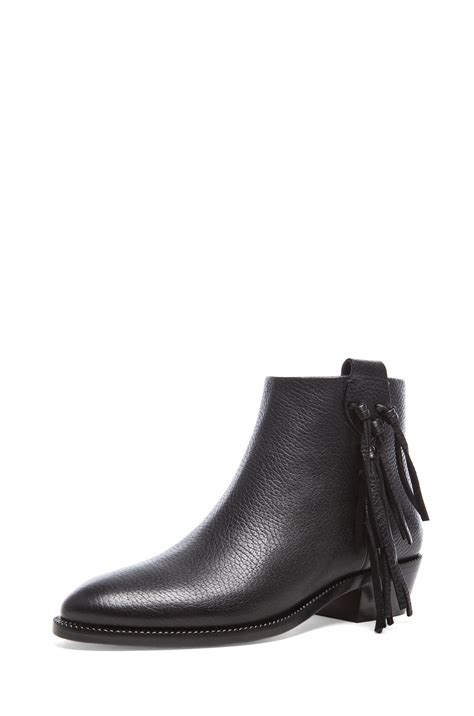 ankle boots with fringe valentino fringe grained leather ankle boots in black lyst