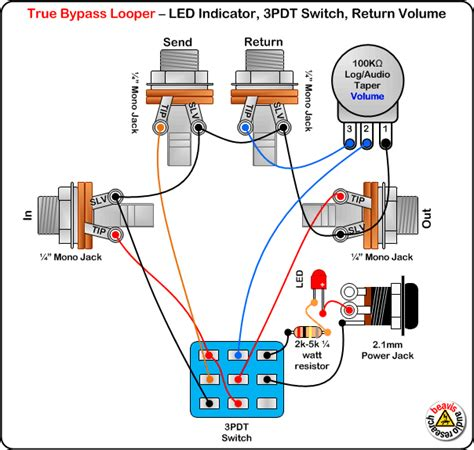 true bypass looper volume led dpdt switch wiring