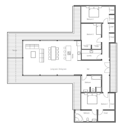 Open Modern Floor Plans | modern contemporary house plan with three bedrooms and