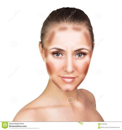 Make Professional Highlight by Make Up Contour And Highlight Makeup Stock