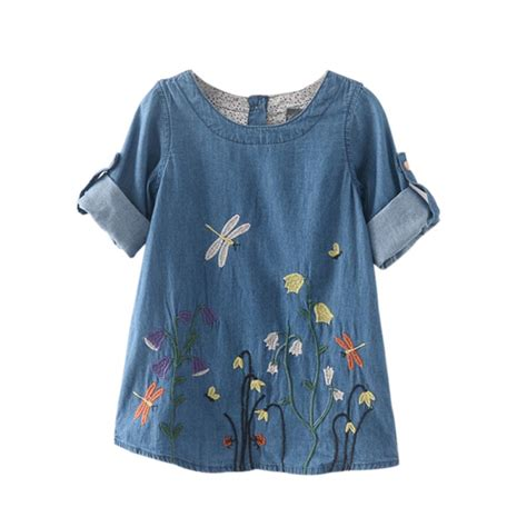 Fresh Denim by Children Clothing Denim Dress Kid Dragonfly Flower