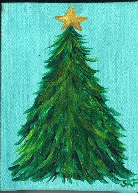 original christmas tree painting on mini canvas by
