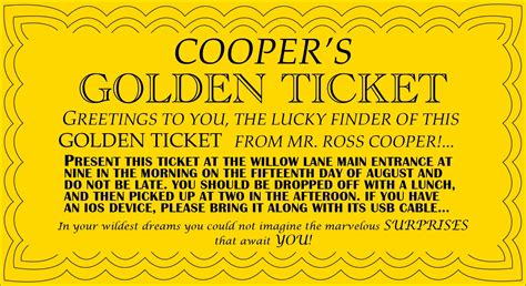 September 2013 Ross Cooper Golden Ticket Template Word Document