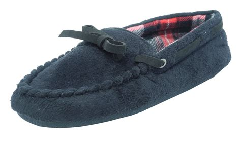 slippers size 3 boys dunlop micro suede moccasin slippers black