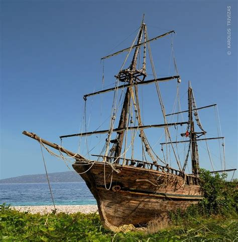 boat crash pirates an old wooden two masted sailing ship run aground in her