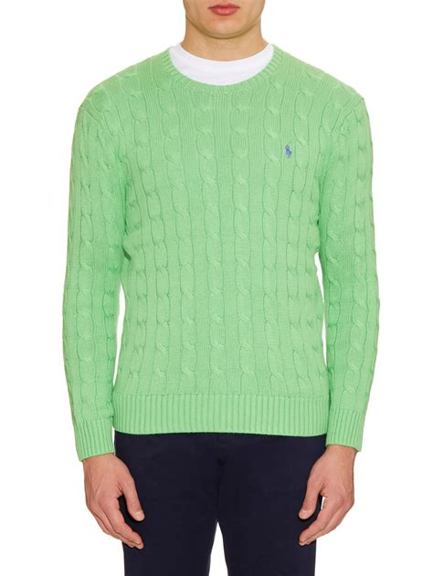 knit cotton sweater lyst polo ralph cable knit cotton sweater in