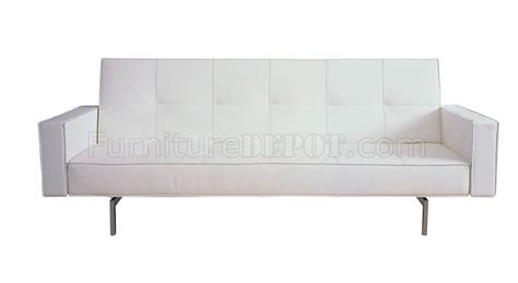 White Sleeper Sofa White Brown Or Black Leatherette Modern Sleeper Sofa