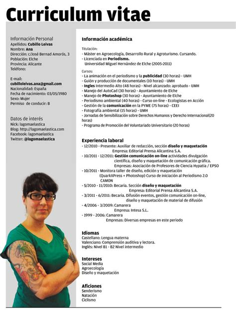 Plantilla De Curriculum Con Foto Plantillas Curriculum Vitae Ecro Word Lugares Para Visitar Words Curriculum And