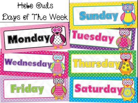 days of the week calendar cards owl polka dot hobo stitched