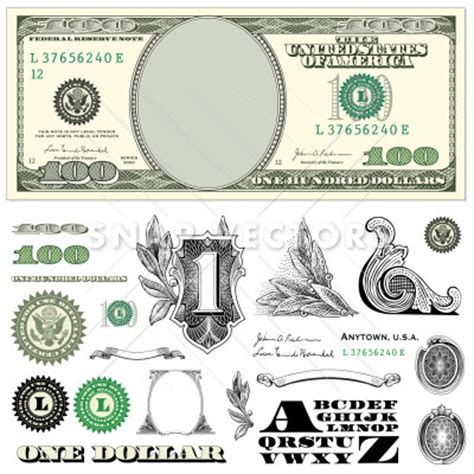 money dollars and design elements vector vector 100 dollar bill template set snap vectors