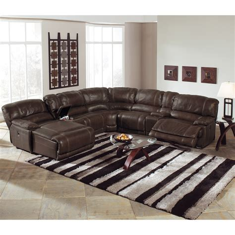 Sectional Sofa With Recliner St Malo 6 Power Reclining Sectional With Left Facing Chaise Brown American Signature