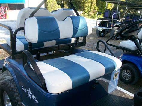 golf cart upholstery seats white with riviera blue striped deluxe 226 162 golf cart seat