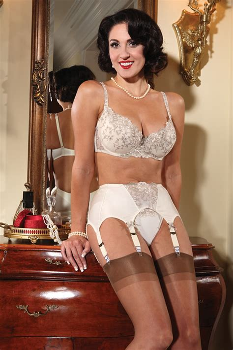 garters and nylons secrets in lace margaux bra girdle set