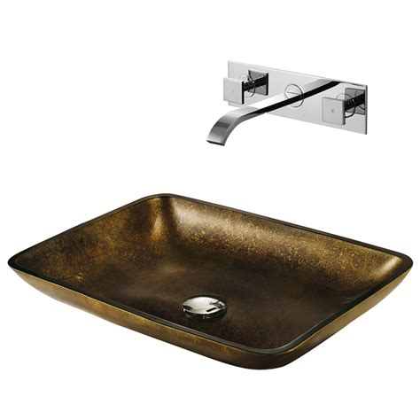 vigo glass vessel sinks vigo rectangular copper glass vessel sink and wall mount