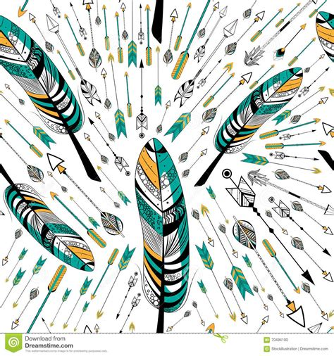 tribal pattern feather tribal boho style feather seamless pattern cartoon vector