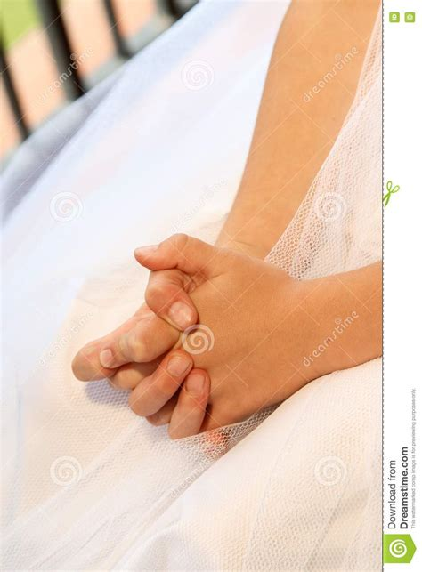 hands folded stock image image  gown girl nails
