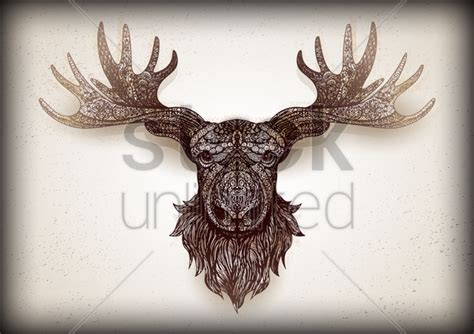 stag head designs intricate mounted stag head design vector image 1623359
