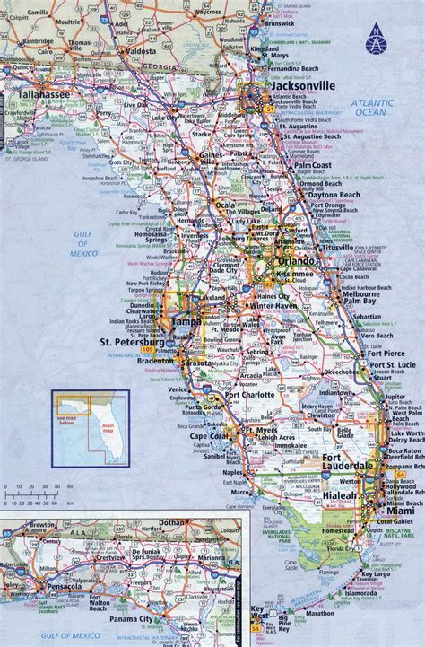 florida in usa map large detailed roads and highways map of florida state