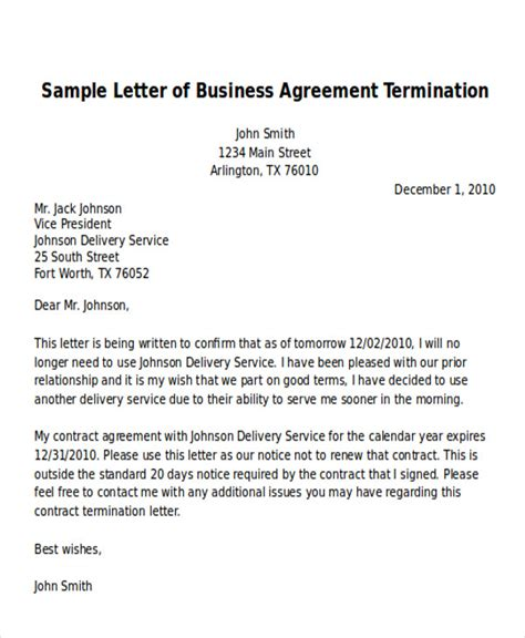Agreement Letter Format For Business sle and template letter for terminating of business agreement vatansun