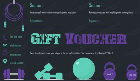 Gym Sections Gift Certificate Template