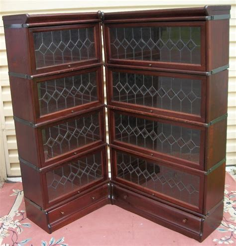 mahogany corner stacking bookcase four sections