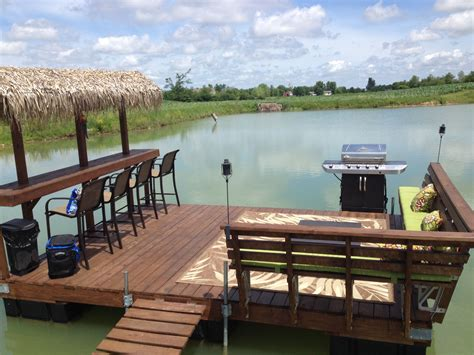 boat dock ideas floating dock tiki bar on our pond outdoor pinterest