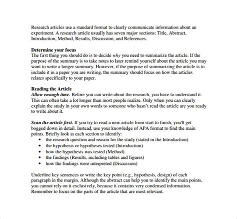 research synopsis template 8 article summary templates sles exles formats
