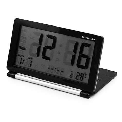 ultra slim lcd snooze thermometer calendar display travel alarm clock folding tt ebay