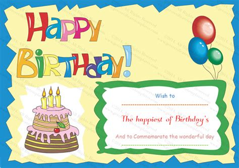 Birthday Gift Certificate Templates Certificate Templates Birthday Gift Card Template Printable
