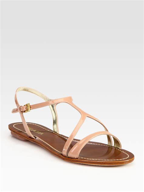 prada jelly sandals lyst prada patent leather flat sandals in brown