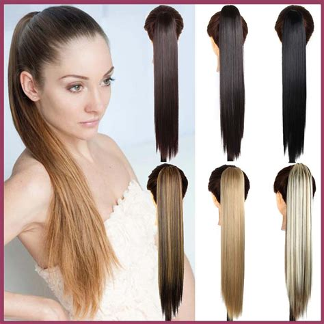 realistic drwa string pony tail hair wish 24inch long straight synthetic hair extensions