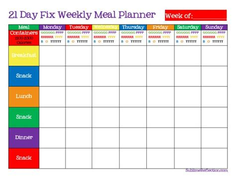 How To Create A 21 Day Fix Meal Plan Weekly Meal Planner Weekly Meals And Shopping Lists Meal Prep Template