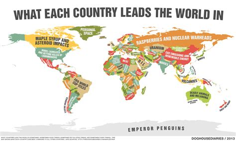 world map with every country name a map of what every single country leads the world in