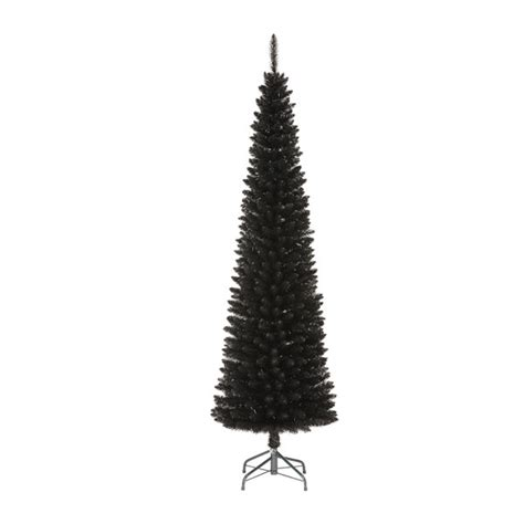 28 black slim christmas tree pre lit 7 5 ft