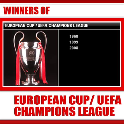 european cup and uefa chions league records and man utd premier league win manchester united trophies