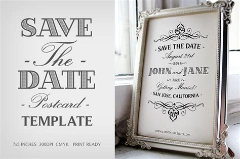 Save The Date Postcard Template V 1 Invitation Templates On Creative Market Free Save The Date Templates