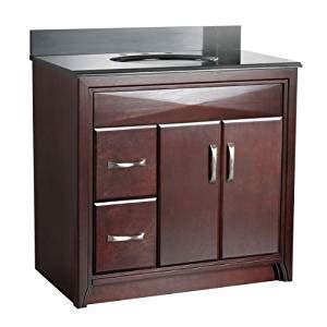 36 inch vanity with drawers on left foremost cala3621dl cavett 36 inch bath vanity with left