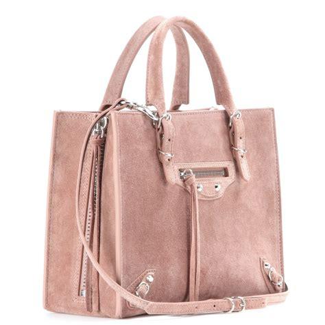 And Balenciaga Bag by Balenciaga Mini Papier A4 Suede Shoulder Bag In Pink