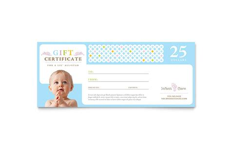 infant care babysitting gift certificate template design
