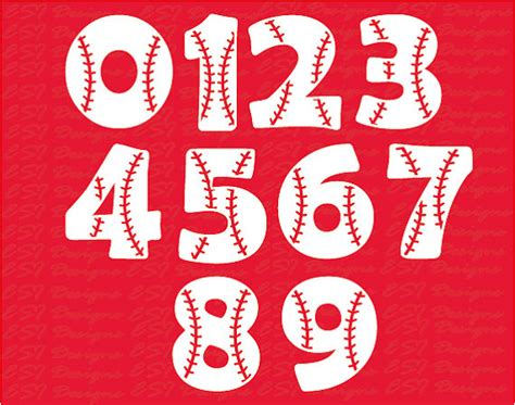 printable baseball numbers baseball font svg numbers svg dxf eps svg cutting