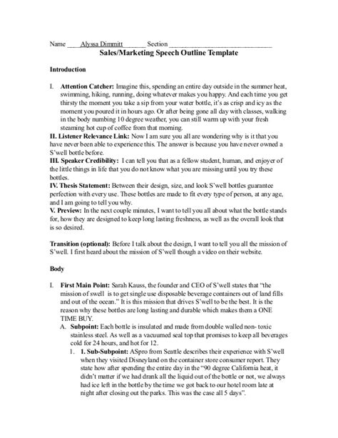 7 College Essay Sles Sle Templates by 287 Sales Speech Outline