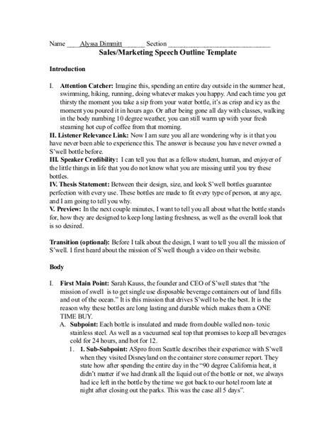 sle of outline 287 sales speech outline