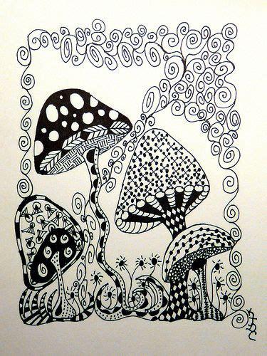 zentangle pattern fungees 41 best zentangle mushrooms images on pinterest