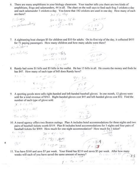Systems Of Equations Word Problems Worksheet Answers by Algebra 1 Systems Of Equations Word Problems Worksheet