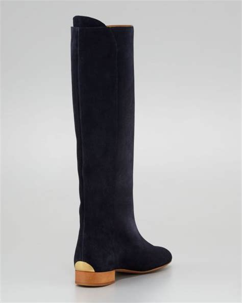 chlo 233 flat suede boot navy in blue navy lyst