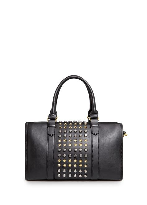 Original Mango Studed Bag lyst mango studded bowling bag in black