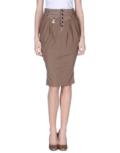 high knee length skirt in khaki lyst